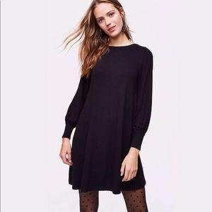 NWT The Loft Blouson Long Sleeve Black Dress XS